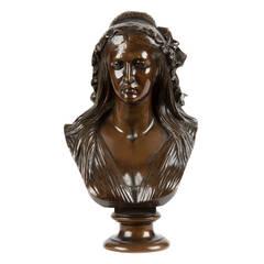 French Antique Bronze Bust after Jean-Baptiste Clésinger, F. Barbedienne