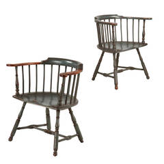 Pair of American Painted Lowback Windsor Antique Chairs, Early 20th Century