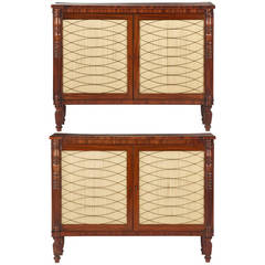 Pair of English Regency Mahogany Antique Cabinets Bookshelves, circa 1810-1830
