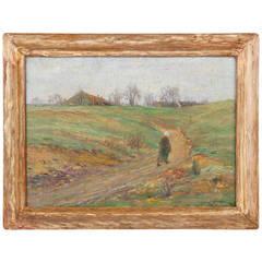 Cullen Yates (American, 1866-1945) Antique Painting of Autumnal Landscape