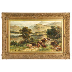 William Langley Antique Oil Painting of Cows Cattle at Loch Achray, Signed