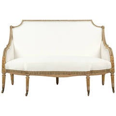Fine French Louis XVI Style Painted Antique Settee Sofa, Early 19th Century