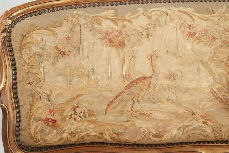Fine Louis XV Style Aubusson Upholstered Antique Settee, 19th Century 5