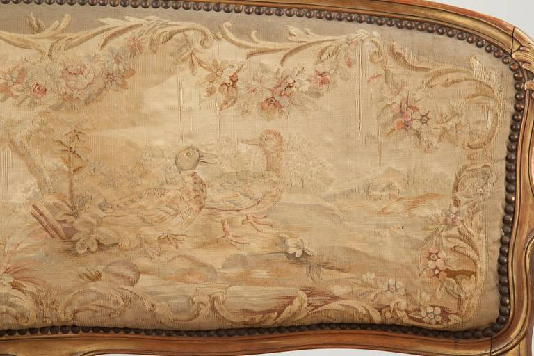 Fine Louis XV Style Aubusson Upholstered Antique Settee, 19th Century 6