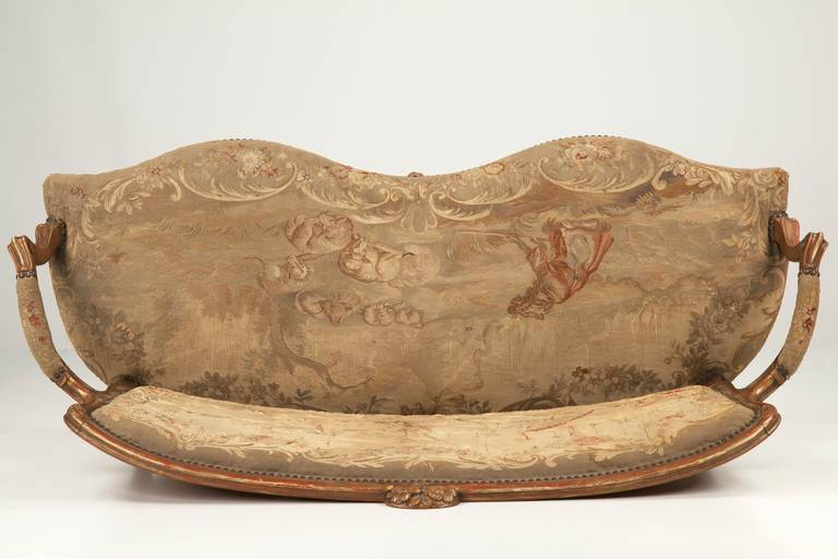 Fine Louis XV Style Aubusson Upholstered Antique Settee, 19th Century 8