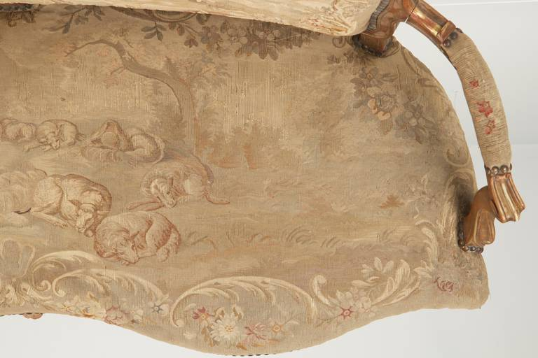 Fine Louis XV Style Aubusson Upholstered Antique Settee, 19th Century 9