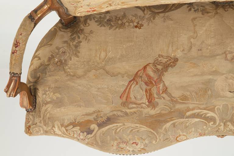 Fine Louis XV Style Aubusson Upholstered Antique Settee, 19th Century 10