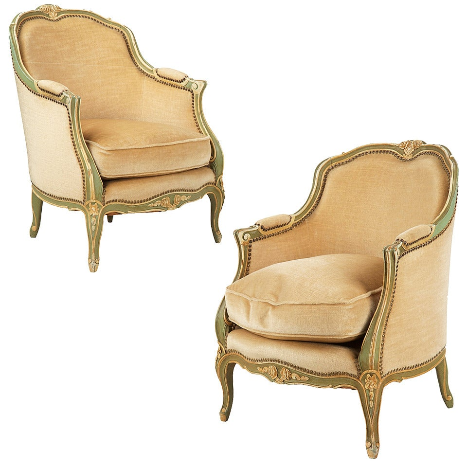Pair Of French Louis Xv Style Painted Bergere Arm Chairs