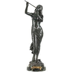 """Edouard Drouot French Art Nouveau Bronze Sculpture of """"Muse des Bois"""" c. 1900"""