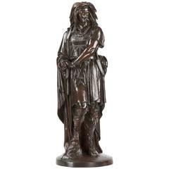 "French Antique Bronze Sculpture of Viking Warrior ""Vercingetorix"" by Aime Millet"
