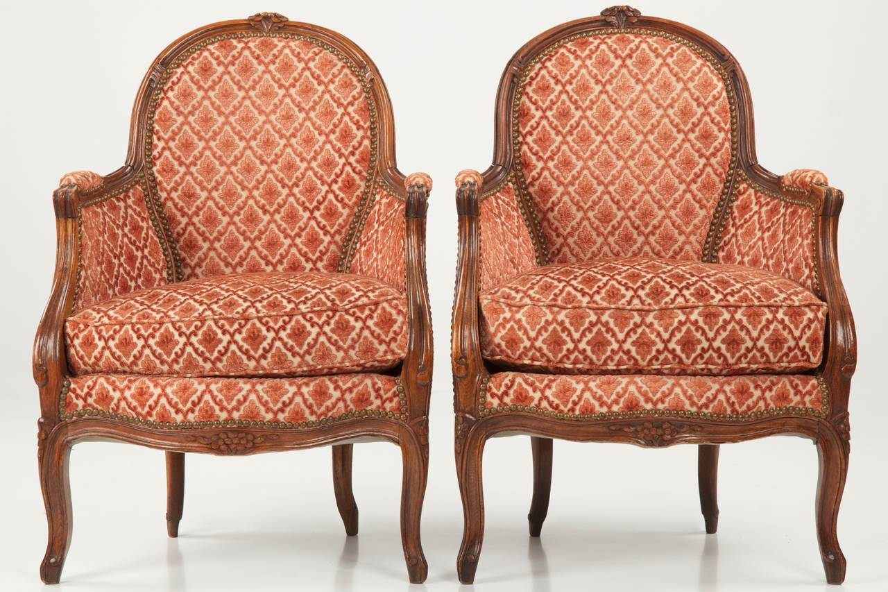 FRENCH LOUIS XV STYLE FRUITWOOD BERGERES [ANTIQUE ARM CHAIRS] C. 1890 1910