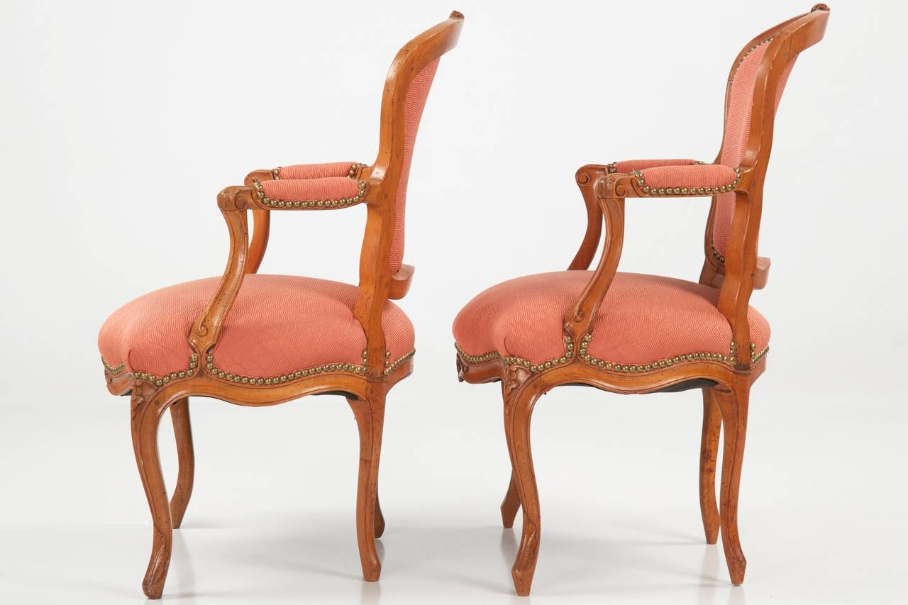 Pair of French Louis XV Antique Fauteuils Arm Chairs Jean