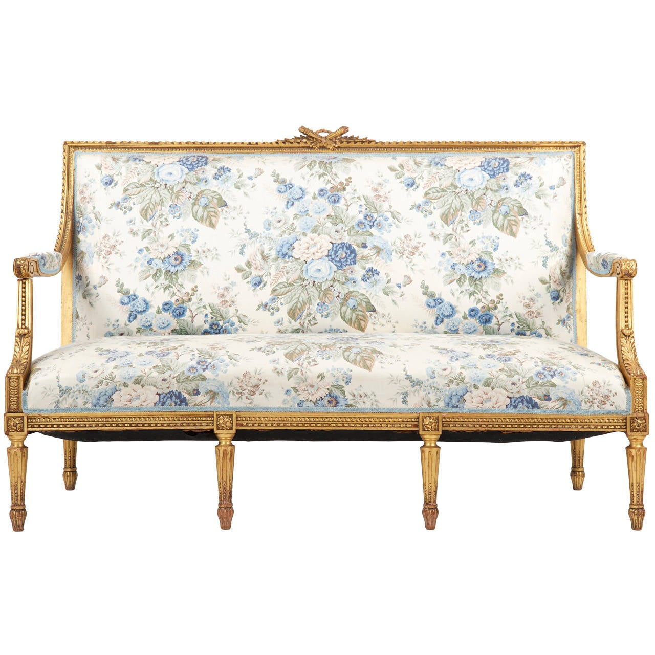 French Louis Xvi Style Giltwood Antique Settee Sofa Canape C 1900 For