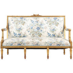 French Louis XVI Style Giltwood Antique Settee Sofa Canape c. 1900