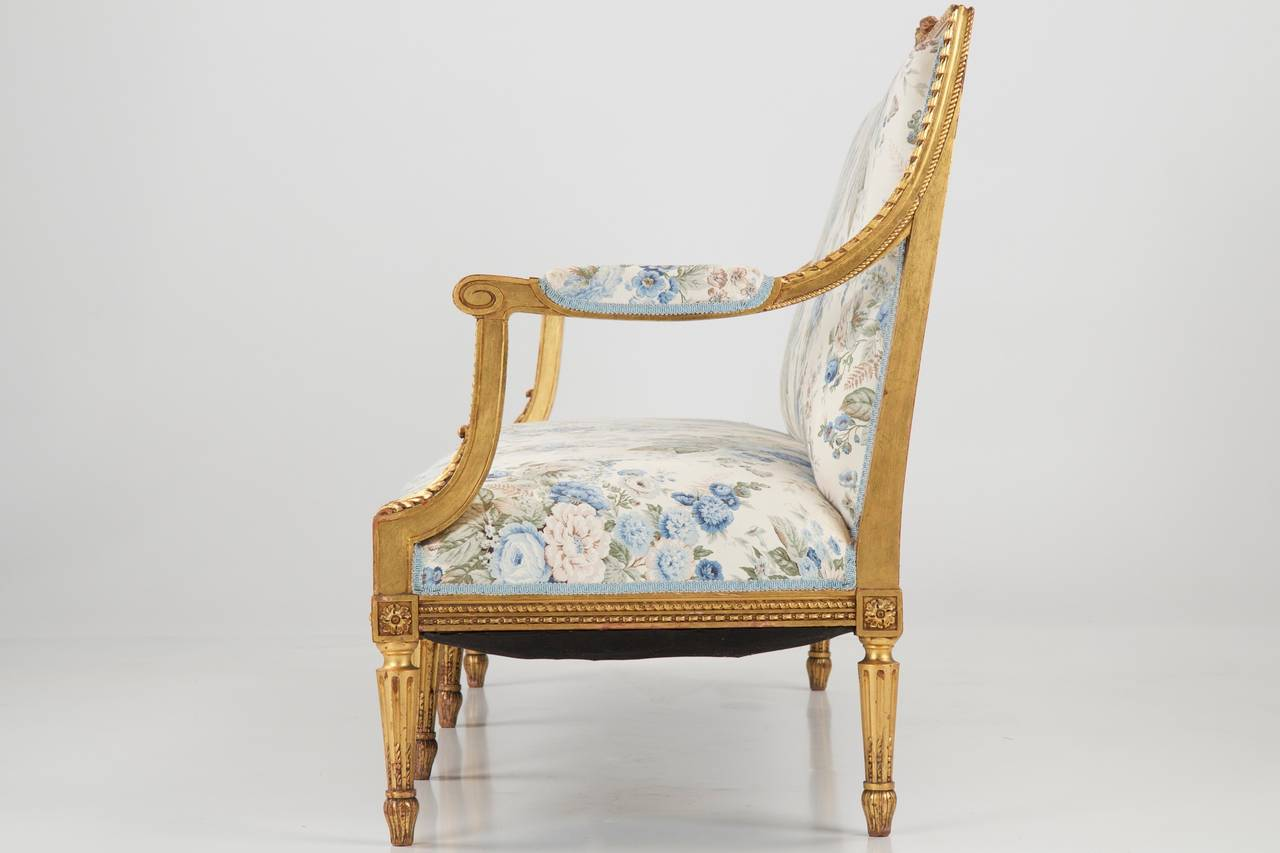 French louis xvi style giltwood antique settee sofa canape for Canape furniture