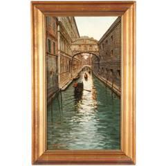 Fausto Giusto (Italian, 1867-1941) Venetian Canal Antique Painting c. 1897