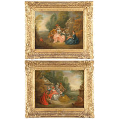 Pair of French School 18th Century Antique Courting Scene Paintings