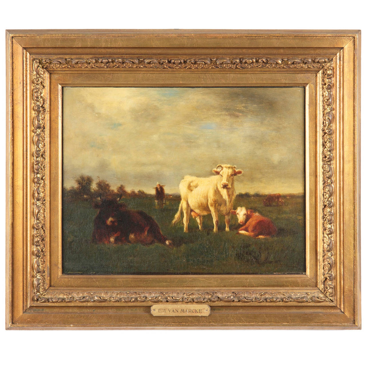 Emil van Marcke French Antique Painting of Cows, \