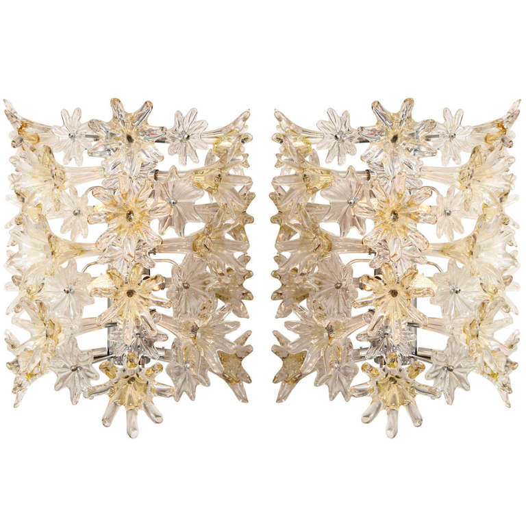 A Pair of Mid-Century Modern Murano Glass Wall Lights  For Sale