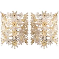 A Pair of Mid-Century Modern Murano Glass Wall Lights