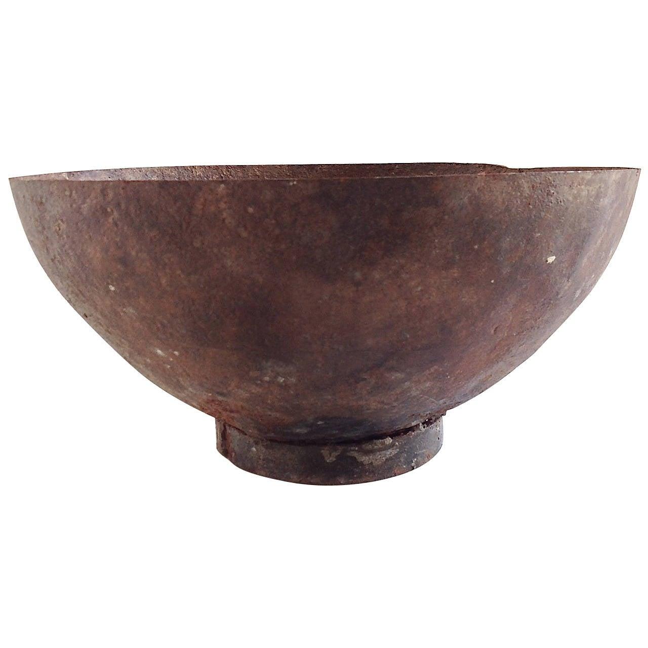Large Iron Riveted Bowl At 1stdibs