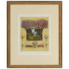 "California Wine Country  Original Lithograph ""Spring"""
