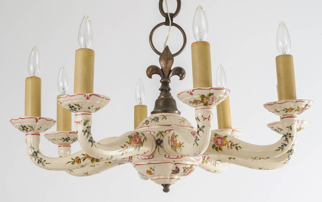 Faience pattern ceramic chandelier for sale at 1stdibs faience pattern ceramic chandelier 2 arubaitofo Choice Image