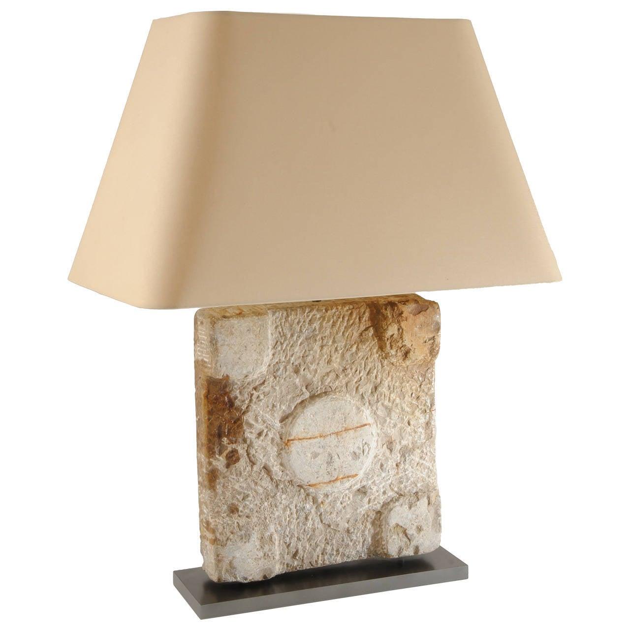 Stone Architectural Element Roman Column Base Lamp For