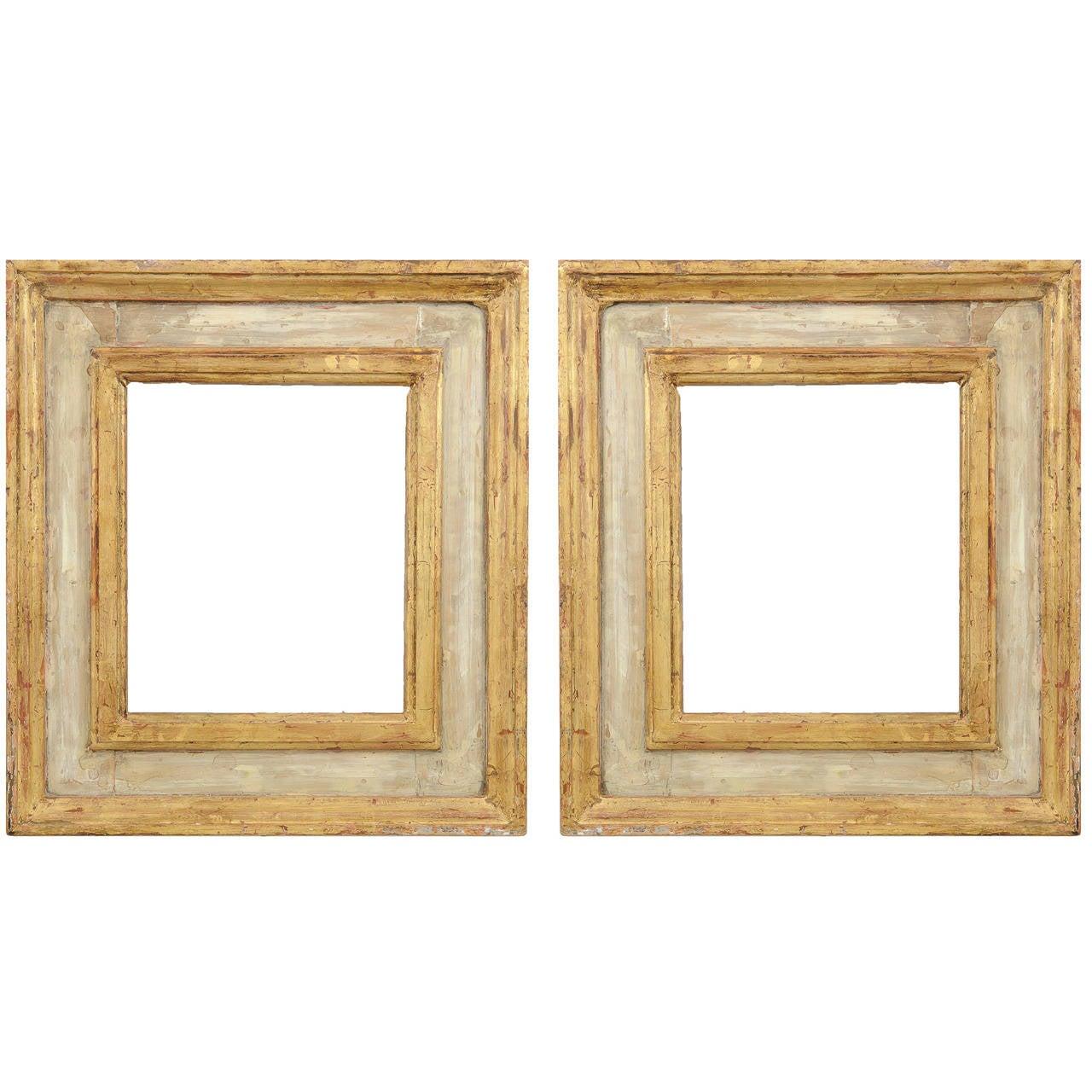 pair of renaissance gilt and paint italian wood frames 1 - Wooden Photo Frames