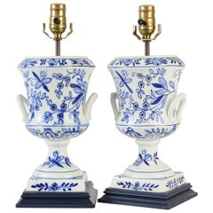 Blue and White Transferware Urn Lamps
