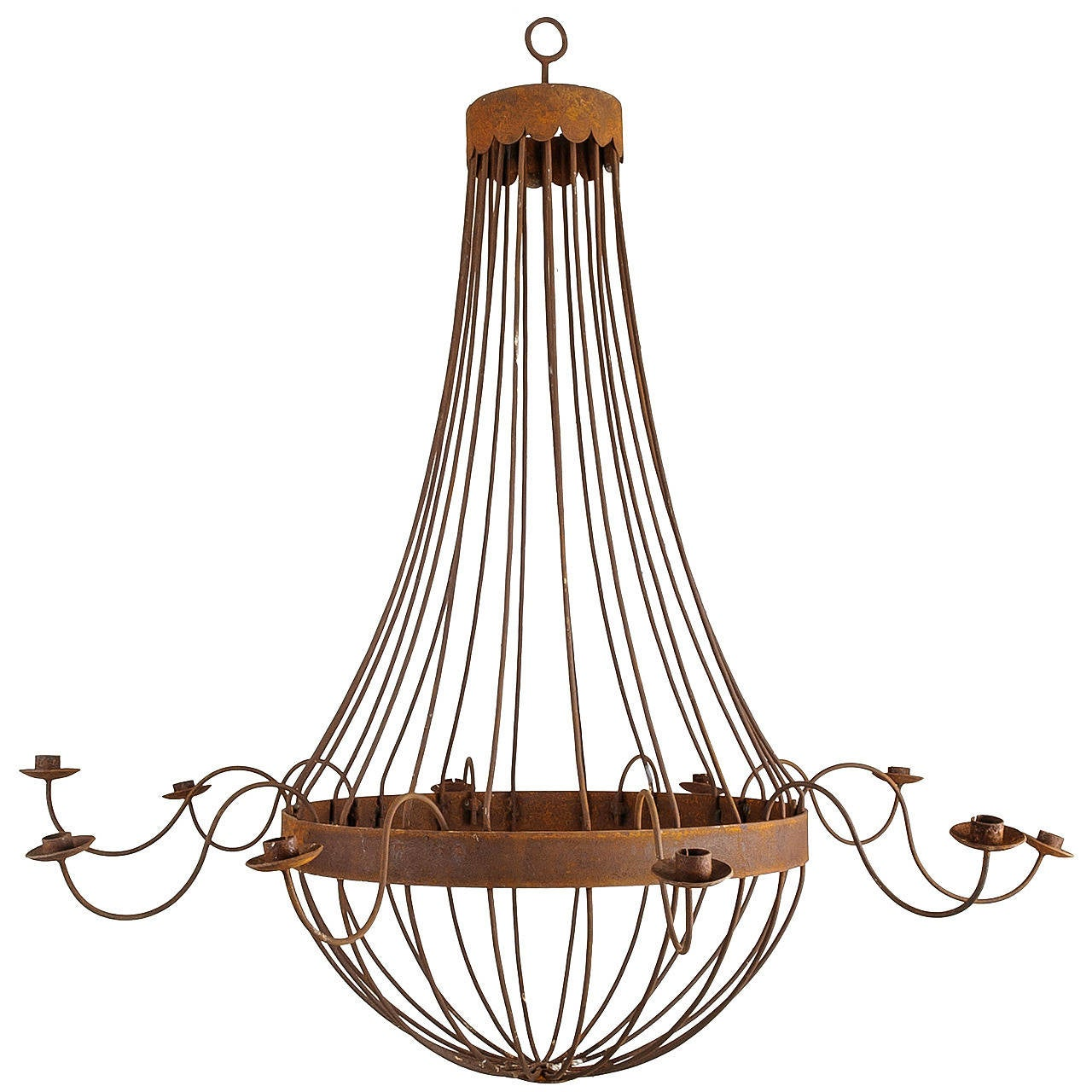 Grand French Bell Iron Chandelier with Ten Candles, Rusted Finish