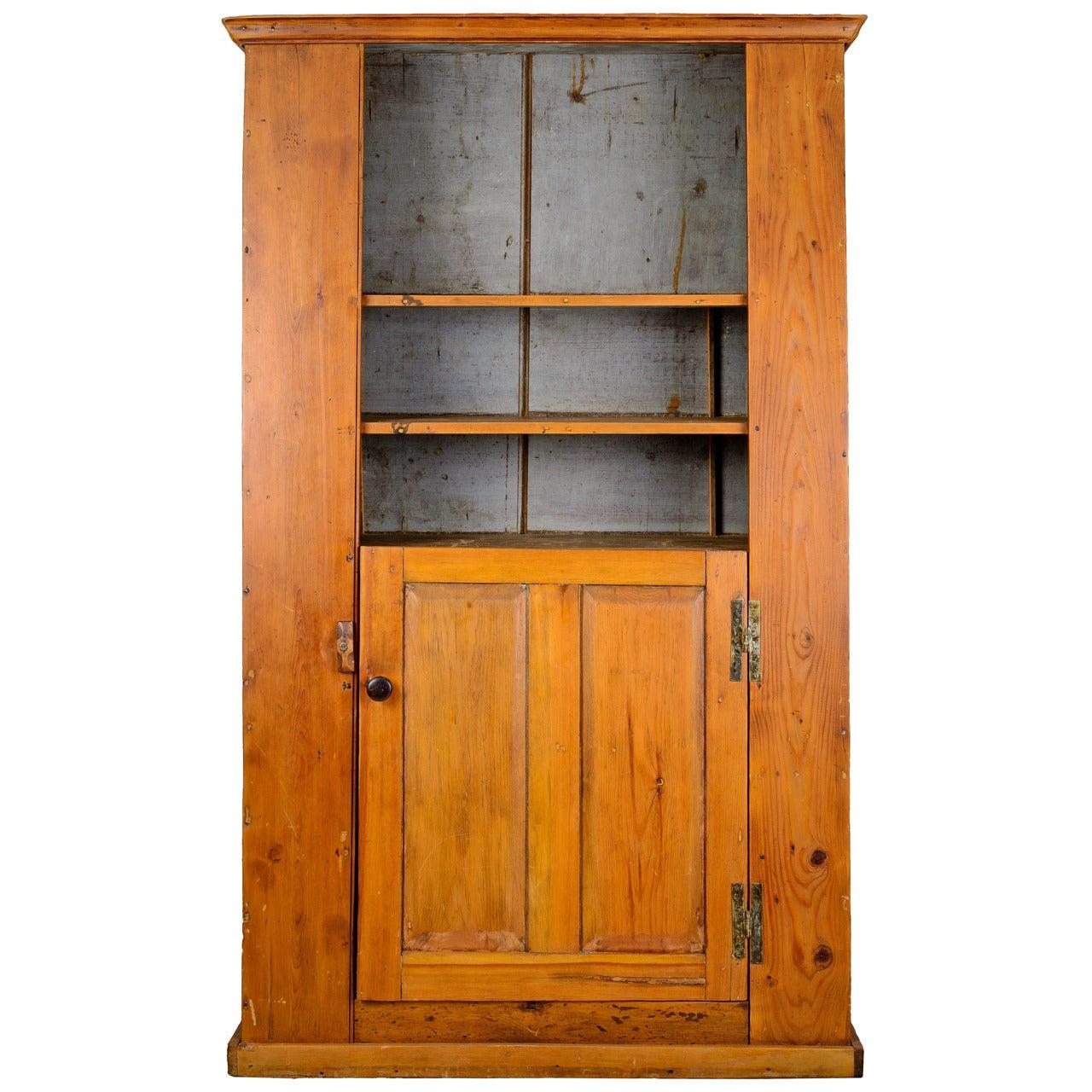 18th Century American Pine Slant Back Cupboard