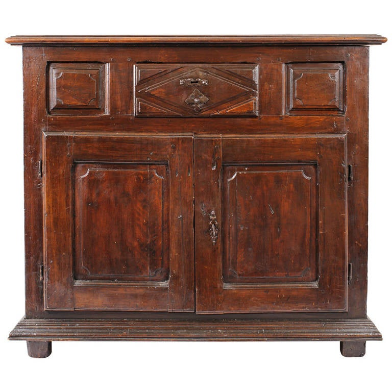 Period Louis XIII Oak Buffet with Bold Hand-Carved Detail