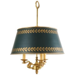 Empire Bronze and Bouillette Hanging Lamp with Tole Shade