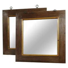 Pair of Grand Scale Wide Metal and Wood Framed Mirrors