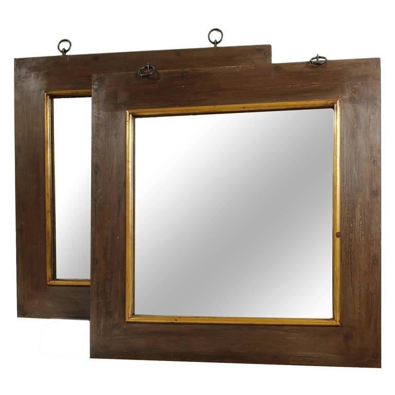 Pair of grand scale wide metal and wood framed mirrors for for Wide framed mirror