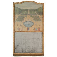 Regence Trumeau Mirror with Original Landscape Painting on Canvas, 1715-1730