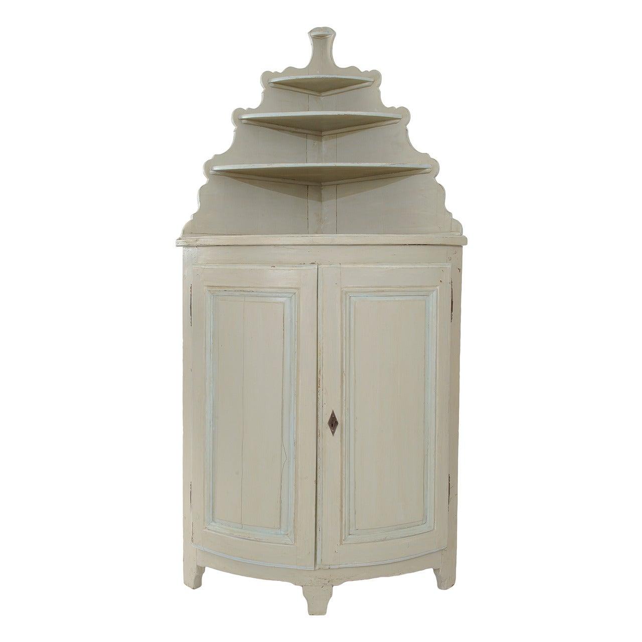 18th Century Directoire Painted Corner Cabinet