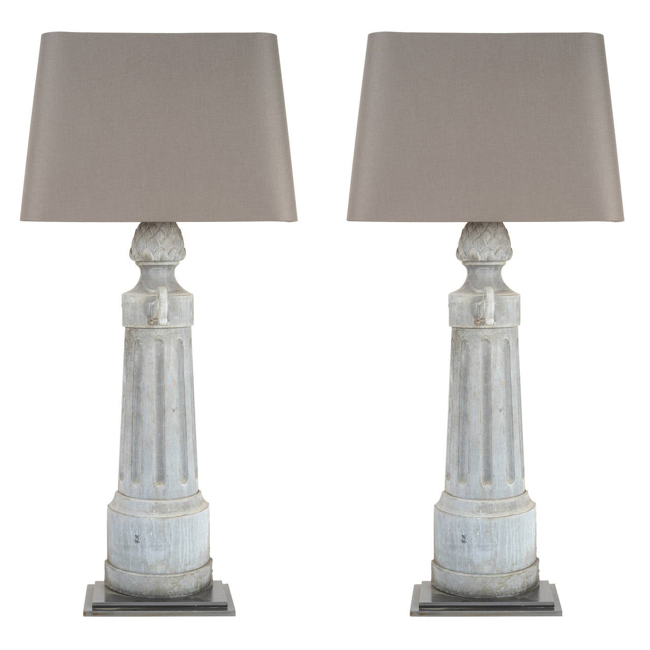 Pair Of Tall Metal Lamps With Custom Shade For Sale At 1stdibs