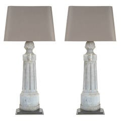 Pair of Tall Metal Lamps with Custom Shade