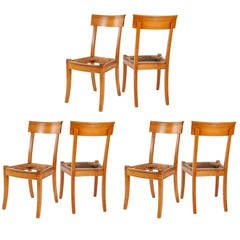Set of Six Directoire Dining Chairs