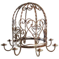 Large Iron Round Chandelier with Eight Candles, Hearts and Scroll Detail