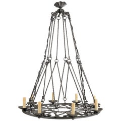 Large Round French Iron Chandelier with Eight Lights