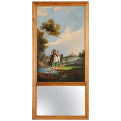 18th Century Trumeau Mirror with Italianate Oil Painting on Canvas