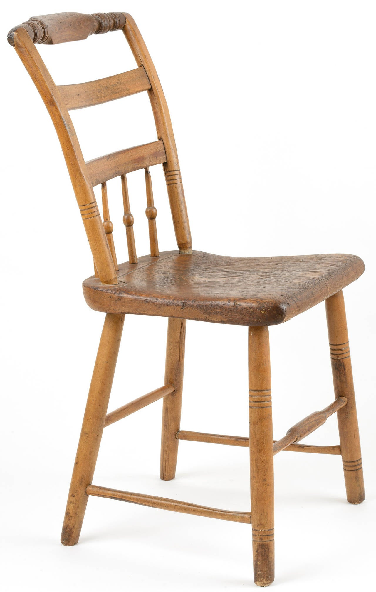 19th Century Pair of American Half Windsor Back Side Chairs For
