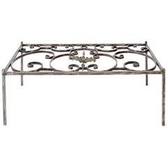 19th Century, French Iron Grill Coffee Table