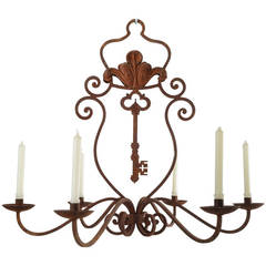 Rusted Iron French Chandelier with Key Motif
