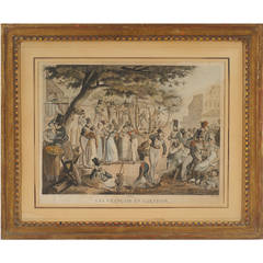 18th Century French Gilded Frame with Revolutionary Lithograph