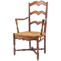 19th Century French Armchair with Rush Seat