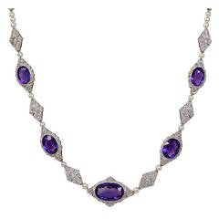 Pearl Amethyst Diamond Antique Necklace